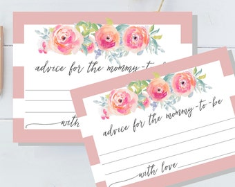 """Advice for the Mommy-To-Be Cards & matching sign, Instant Download, Baby Shower, 5""""x7"""", Pink, White and Watercolor"""
