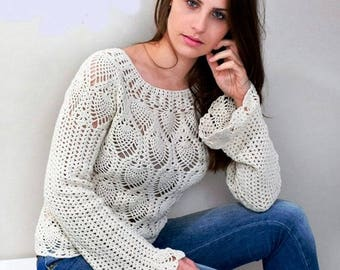 Ladies White crochet sweater / custom