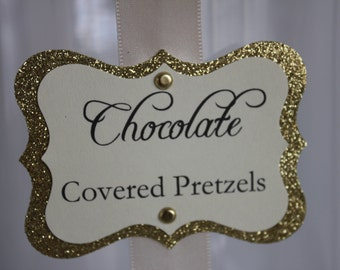 Gold Glitter Candy Tags