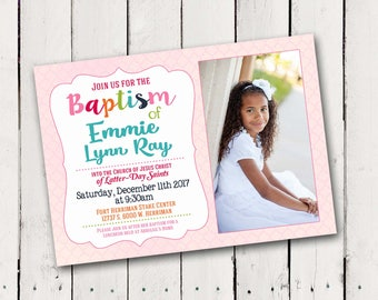 Girls Rainbow Baptism Invitation - optional back photo collage
