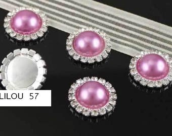 1 cabochon Pearl Fuchsia Pearl set with Crystal glass 18mm