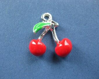4 Cherry Charms - Cherry Pendants - Fruit Charm - Fruit Pendant - Enamel Charm - 16mm x 16mm -- (I8-10811)