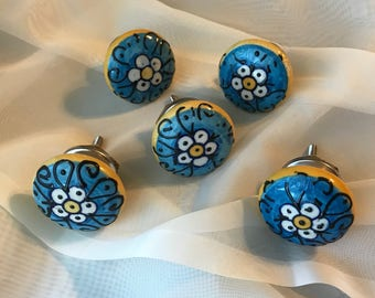 AS IS - Blue Floral Knobs, CLEARANCE Pull Knob, Hand Painted Ceramic Drawer Pulls, Home Improvement Cabinet Supplies, Item #278667598