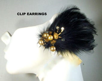 Vintage Black Feathered CLIP Earrings, 1960s With REAL Bird Hackle Feathers, Gold & Rhinestone Focals