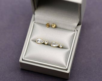 Earrings in 9k 375 solid yellow gold set with CZ