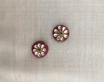 Indian Maroon Glass Buttons Beads, Round Kundan Button Rajasthan Traditional Handmade Flat Back Buttons, Sewing Jewellery, 2cm D, 2 pcs