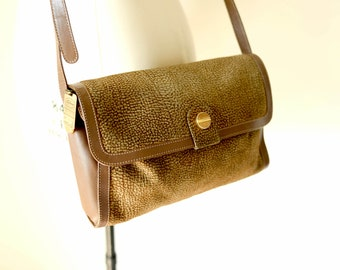 BORBONESE by RED WALL / vintage women classic printed suede leather crossbody handbag