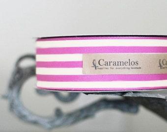 "1 1/2"" wide Magenta Pink and Cream ribbon 3 yards"
