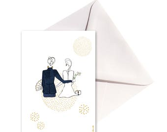 Folded card, envelope and groom gold