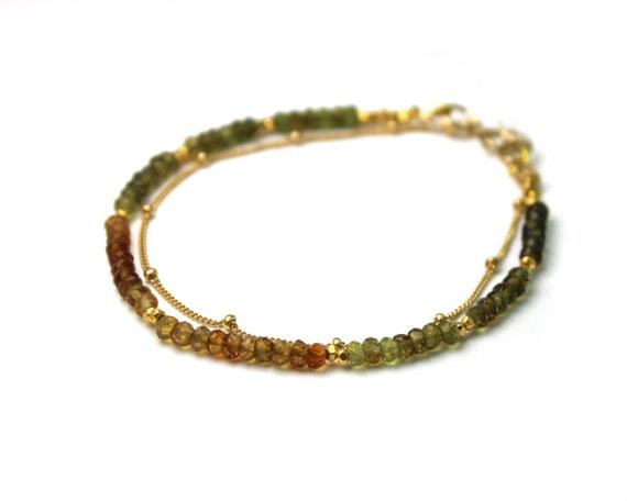 Earthy Garnet Bracelet. Delicate Jewelry. Double Layer Bracelet. Also in Lapis or Labradorite, Gold or Silver. B-2193-6