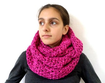 Snood mottled pink oversized wool
