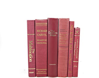 Marsala Wine Antique Books, Decorative Books, Red Old Book Set, Wedding Centerpiece, Old Book Decor, Book Collection Stack, Instant Library