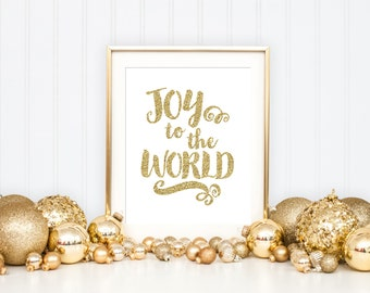 Joy to the World Printable Art Print, Christmas Printable Art Print, Gold Art Print, Gold Holiday Wall Art, Christmas Decoration Wall Art,