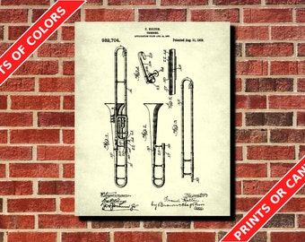 Trombone Patent Print, Trombone Blueprint Musician Gift Music Room Decor Musical Instruments Poster Orchestra Poster Living Room Decor
