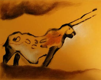 Reproduction of a rock painting of the cave of Lascaux