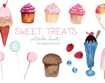 Watercolor Clip Art - Sweets- Personal Use, Instant Download, Treats, Muffin, Cupcake, Ice cream Sundae, Lollipop, Berries, Sugar, Bakery