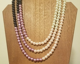 Purple Ombre Pearl Necklace