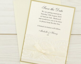 SAMPLE * Vintage Lace Save the Date Cards Classic Wedding Range