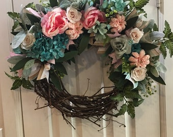 Blush and teal wreath