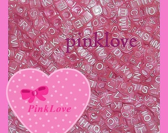 Pink Cube Letter Beads Alphabet Beads 100 pcs Set 6mm Nane ABC Bead Decoden Supplies
