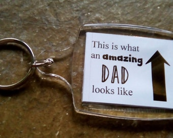 Amazing Dad Foiled Key Ring, Key Chain - Choice colours