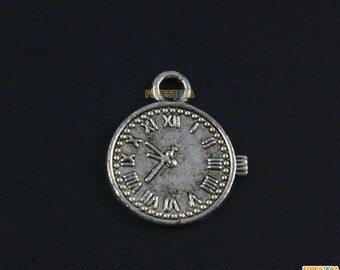 50Pcs Antique Silver Clock Charm Clock Pendant 19x16mm (PND1563)