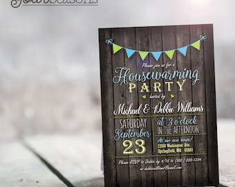 Blue and Green Housewarming Party Invitation - Personalized Printable DIGITAL FILE