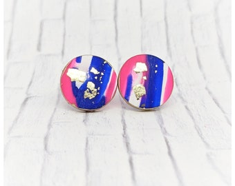Blue and pink earrings polymer clay jewelry earrings bridesmaid gift for her nickel free earrings lightweight earrings girl gift