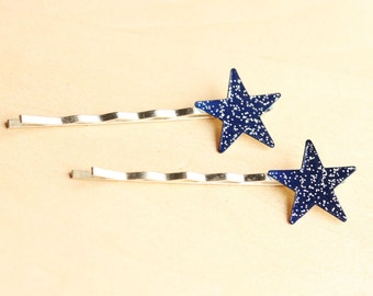 Star Bobby Pins, Glitter Bobby Pins, Bobby Pins, Bobby Pin, Star Hair Clip, Hair Pin, Blue Star, Hair Pins