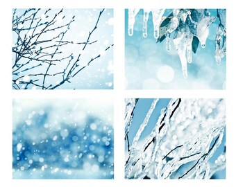 snow photography print set nature photography abstract 5x7 8x10 set of 4 fine art photography winter bokeh photography frozen ice blue aqua