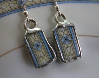 Broken china jewelry - yellow and blue pattern dangle earrings - upcycled earrings - unique earrings