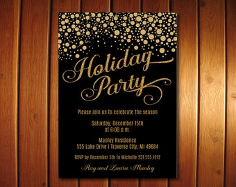 Confetti Christmas Invitations, Holiday Invitation, Black and Gold Christmas Party Invites