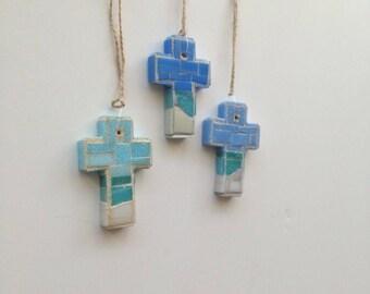 Gulf Coast Mosaic Wall Cross or Christmas Ornament (Set of 3)