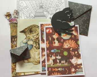 Cat cards, cat paper, snail mail kit, cat craft kit, paper pack, cat emphemera, cat stationery, pen pal, letter writing