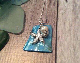 Blue Seashell Necklace With Pearl and Starfish