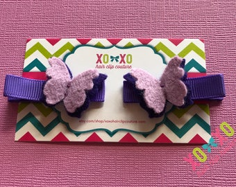 Butterfly clips (purple)
