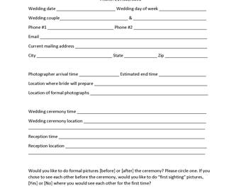 Wedding Contract and Pricing