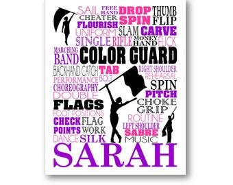 Colorguard typographie affiche, couleur garde Wall Art, couleur garde équipe cadeau, cadeau pour Colorguard Coach, toile Colorguard, gardien de couleur d'impression