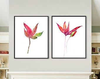 Watercolor flower magnolia print painting flowers floral watercolor Wall Art Print, flower art print set 2 Art Prints - 98/113