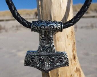 Handmade Surfer Necklace Men's Chain Thor Hammer Stainless Steel Thorshammer Pendant Mjölnir Women's Chain ® CHIMUWAVES