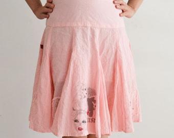 Pink skirt with prints, midi skirt, cotton, Vintage