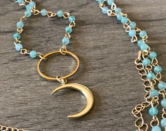 Beaded Chain Crescent Moon Necklace Black Friday Sale