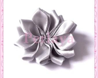 1 large satin fabric flower gray 3.8 cm REF132