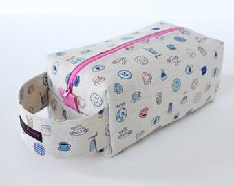Zippered Knitting Crochet Project Box Bag - Fine China - Pink Zip