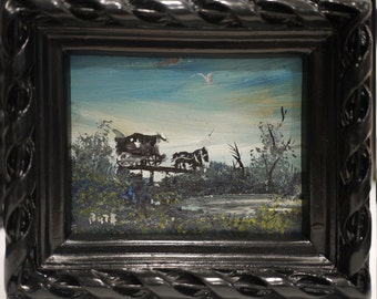 Original Oil Painting of Horse & Buggy by Bute