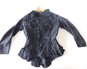 Victorian ladies black silk bodice, in excellent condition, petite