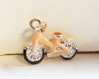 1CT. 19mm Pink Enamel Bike Charm, (Y17)
