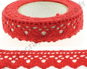 Fabric adhesive tape - red lace trim - 17mm x 2 m