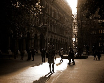 Shadows & Silhouettes, Sydney Photography, City Photography, Sepia Art Print, City Art Prints, Sydney Australia,  Martin Place Photography