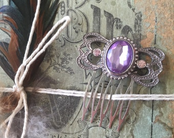 Beautiful purple and pink stone silver hair comb